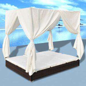 Espreguiçadeira de exterior com cortinas vime PE castanho - PORTES GRÁTIS