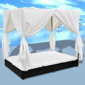 Espreguiçadeira de exterior com cortinas vime PE preto - PORTES GRÁTIS