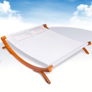 Espreguiçadeira de exterior com almofadas madeira branca - PORTES GRÁTIS