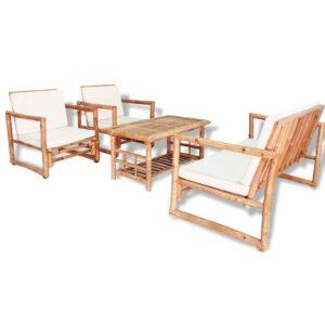 4 pcs conjunto lounge p/ jardim com almofadas bambu - PORTES GRÁTIS