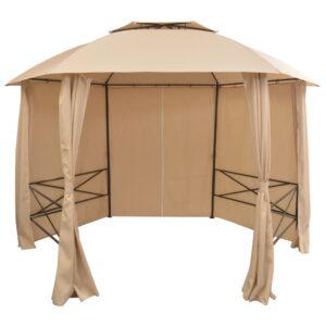 Tenda de jardim com cortinas hexagonal 360x265 cm - PORTES GRÁTIS