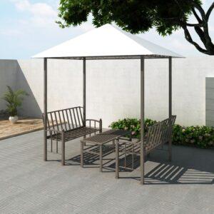 Pérgula para jardim com mesa e bancos 2,5x1,5x2,4 m - PORTES GRÁTIS