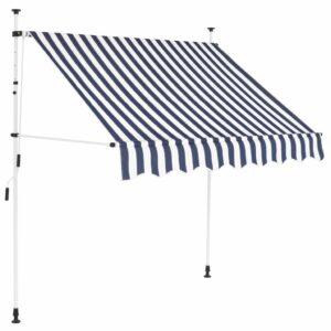 Toldo retrátil manual 150 cm riscas azuis e brancas - PORTES GRÁTIS