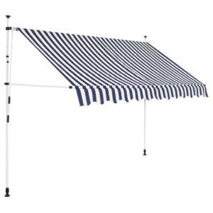 Toldo retrátil manual 300 cm riscas azuis e brancas - PORTES GRÁTIS