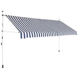 Toldo retrátil manual 350 cm riscas azuis e brancas - PORTES GRÁTIS