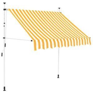 Toldo retrátil manual 150 cm riscas amarelas e brancas - PORTES GRÁTIS