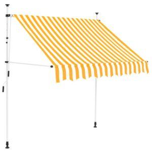 Toldo retrátil manual 200 cm riscas amarelas e brancas - PORTES GRÁTIS