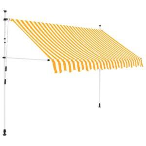 Toldo retrátil manual 300 cm riscas amarelas e brancas - PORTES GRÁTIS