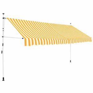 Toldo retrátil manual 350 cm riscas amarelas e brancas - PORTES GRÁTIS