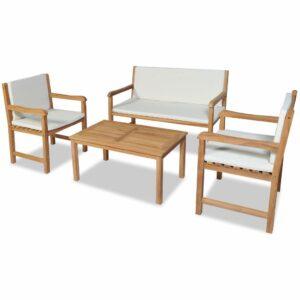 4 pcs conjunto lounge jardim c/ almofadões madeira teca maciça - PORTES GRÁTIS