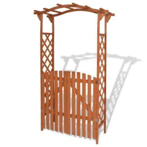 Arco de jardim com portão madeira maciça 120x60x205 cm - PORTES GRÁTIS