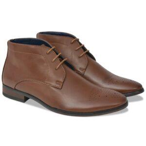 Sapatos/botas homem c/ atacadores castanho tamanho 41 couro PU - PORTES GRÁTIS