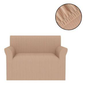 Capa extensível para sofá com riscas largas bege - PORTES GRÁTIS
