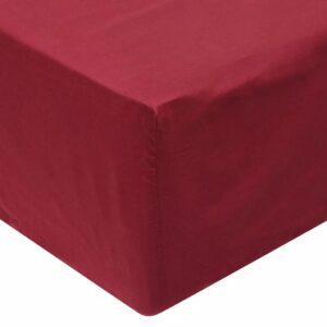 Lençol ajustável 2 pcs 140x200 cm algodão bordô - PORTES GRÁTIS