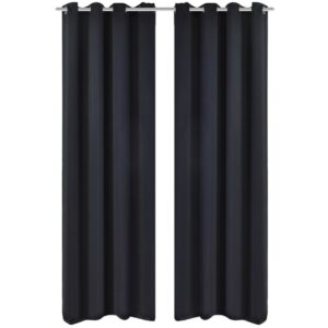 Cortinas blackout 2 pcs com ilhós de metal 135x175 cm preto - PORTES GRÁTIS