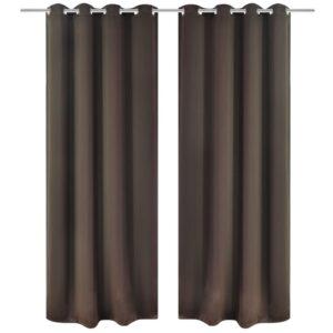 Cortinas blackout 2 pcs com ilhós de metal 135x175 cm castanho - PORTES GRÁTIS