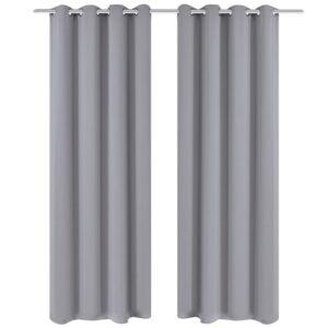 Cortinas blackout 2 pcs com ilhós de metal 135x175 cm cinzento - PORTES GRÁTIS