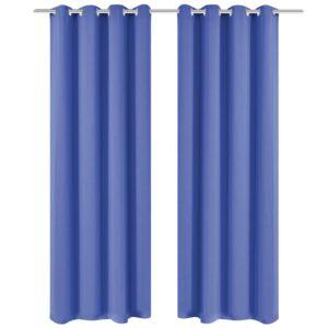 Cortinas blackout 2 pcs com ilhós de metal 135x245 cm azul - PORTES GRÁTIS