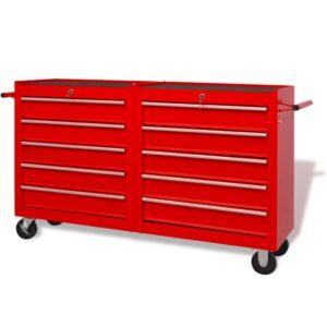 Carro de ferramentas com 10 gavetas XXL aço vermelho - PORTES GRÁTIS