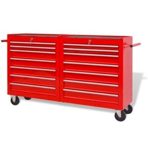 Carro de ferramentas com 14 gavetas XXL aço vermelho - PORTES GRÁTIS