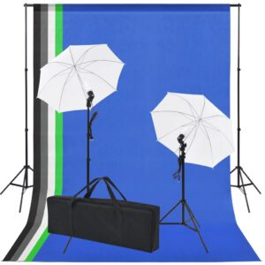 Kit estúdio fotográfico c/ 5 fundos coloridos e 2 sombrinhas - PORTES GRÁTIS