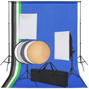 Kit estúdio fotográfico c/ 5 fundos coloridos e 2 softboxes - PORTES GRÁTIS