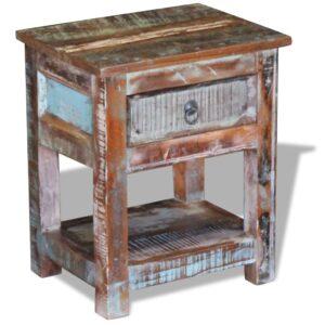 Mesa de apoio c/ 1 gaveta madeira reciclada sólida 43x33x51 cm - PORTES GRÁTIS