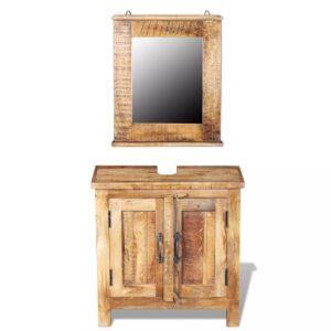 Móvel toucador para WC c/ espelho, madeira de mangueira maciça - PORTES GRÁTIS