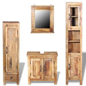 Toucador c/ espelho e 2 móveis laterais, madeira de mangueira  - PORTES GRÁTIS