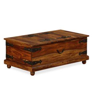 Arca de arrumação madeira sheesham maciça 90x50x35 cm - PORTES GRÁTIS