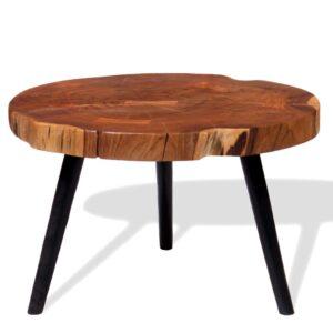 Mesa de centro de tronco madeira de acácia maciça (55-60)x40 cm - PORTES GRÁTIS