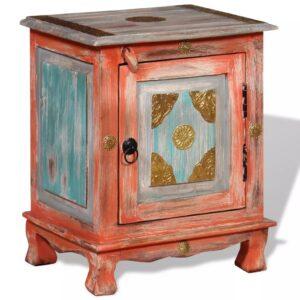 Mesa de cabeceira madeira de mangueira maciça laranja - PORTES GRÁTIS