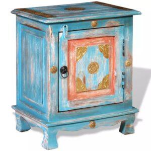 Mesa de cabeceira madeira de mangueira maciça azul - PORTES GRÁTIS