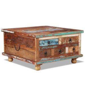 Mesa de centro madeira recuperada 70x70x38 cm - PORTES GRÁTIS