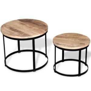 Mesas centro redondas madeira mangueira rústica 2 pcs 40cm/50cm - PORTES GRÁTIS