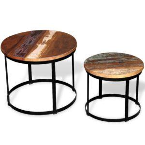 Conjunto mesa centro redonda madeira reciclada 2 pcs 40cm/50cm - PORTES GRÁTIS