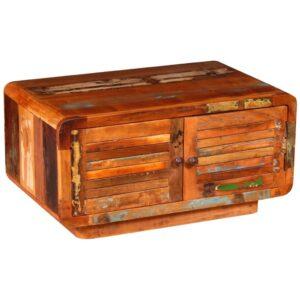 Mesa de centro madeira reciclada maciça 80x50x40 cm - PORTES GRÁTIS