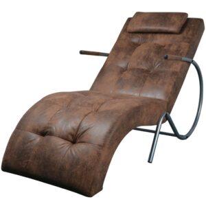 Chaise Lounge com almofada, tecido castanho com aspeto camurça - PORTES GRÁTIS