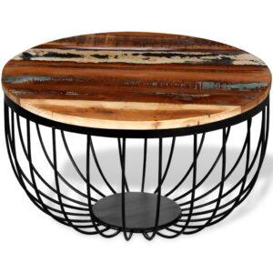 Mesa de centro em madeira maciça reciclada - PORTES GRÁTIS