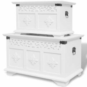 Conjunto de arcas de arrumação 2 pcs branco - PORTES GRÁTIS