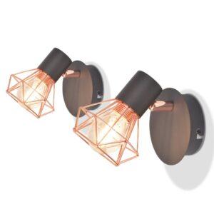 Candeeiros de parede 2 pcs c/ 2 lâmpadas filamentos LED 8 W - PORTES GRÁTIS