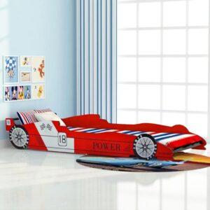 Cama carro de corrida para crianças 90x200 cm vermelho - PORTES GRÁTIS