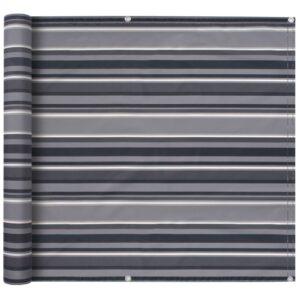 Tela para varanda tecido Oxford 90x400 cm riscas cinzentas - PORTES GRÁTIS