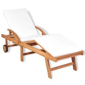 Espreguiçadeira com almofadão madeira teca maciça - PORTES GRÁTIS
