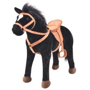 Cavalo em peluche de montar preto - PORTES GRÁTIS