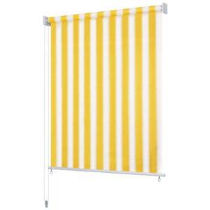 Estore de rolo para exterior 160x140 cm riscas amarelo/branco    - PORTES GRÁTIS