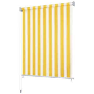 Estore de rolo para exterior 240x140 cm riscas amarelo/branco    - PORTES GRÁTIS