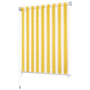 Estore de rolo para exterior 350x140 cm riscas amarelo/branco    - PORTES GRÁTIS