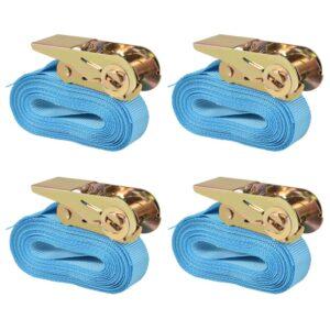 Cintas de fixação c/ roquete 4 pcs 0,8 toneladas 6mx25mm azul - PORTES GRÁTIS