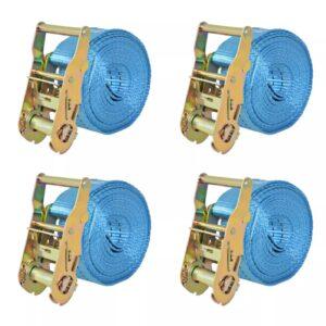 Cintas de fixação c/ roquete 4 pcs 2 toneladas 6mx38mm azul - PORTES GRÁTIS